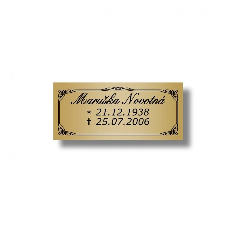 Štítek na pohřební urnu 100x40mm U221